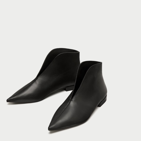 Black Flat Leather Ankle Boots